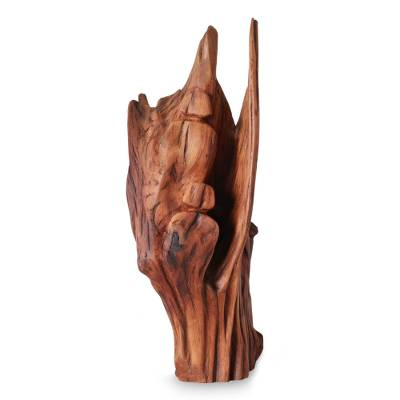 Reclaimed wood sculpture, 'Wintry Fun' - Reclaimed Wood Sculpture from India