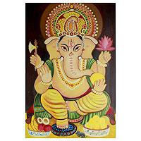 'Auspicious Ganesha I' - Hinduism Deity Signed Fine Art Painting