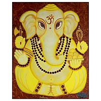 'Meditative Ganesha II' - Signed Hinduism Deity Painting Fine Art