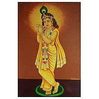 'Music of Love' - Young Krishna Hindu Painting