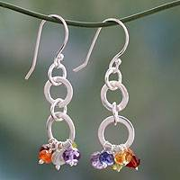 Multi-gemstone chakra earrings 'Radiance' - Sterling Silver and Multigem Dangle Earrings from India