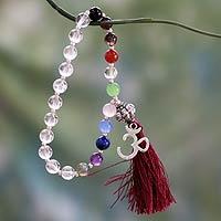 Gemstone chakra bracelet, 'Harmony' - Quartz Chakra Bracelet Multigems and Silver Om Charm