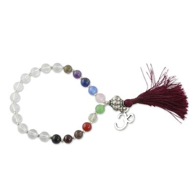 Multi-gemstone chakra bracelet, 'Harmony' - Quartz Chakra Bracelet Multigems and Silver Om Charm