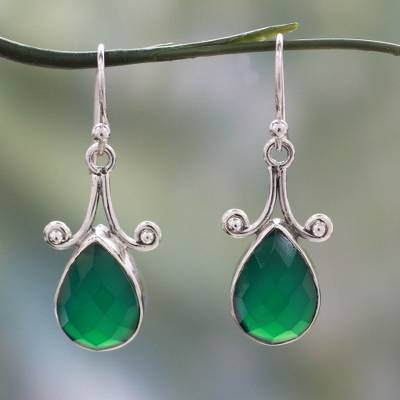 Sterling silver dangle earrings, 'Himalaya Muse' - Sterling Silver and Green Onyx Hook Earrings