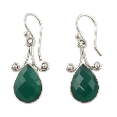 Sterling Silver and Green Onyx Hook Earrings