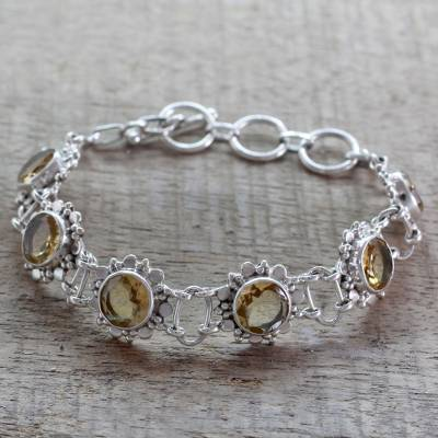 Citrine flower bracelet, 'Hindu Sunflowers' - Sterling Silver Link Bracelet with 11.5 Cts Citrine