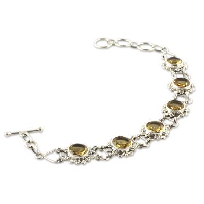 Sterling Silver Link Bracelet with 11.5 Cts Citrine