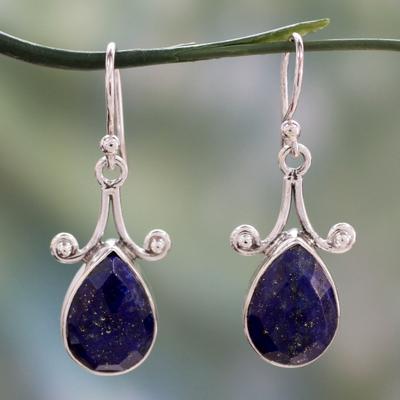 Lapis lazuli dangle earrings, 'Himalaya Muse' - Artisan Crafted Lapis Lazuli and Sterling Silver Jewelry