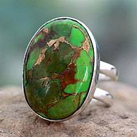 Sterling silver single stone ring, 'Green Island' - Green Composite Turquoise Sterling Silver Ring