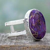 Sterling silver single stone ring, 'Purple Island' - Purple Composite Turquoise Sterling Silver Ring