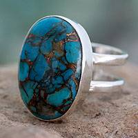 Sterling silver single stone ring, 'Blue Island' - Handcrafted Indian Turquoise Ring in Sterling Silver