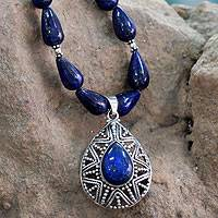 Lapis lazuli pendant necklace, 'Love Power' - Lapis Lazuli and Sterling Silver Indian Fair Trade Necklace