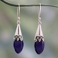 Lapis lazuli dangle earrings, 'Regal' - Handcrafted Royal Blue Lapis Lazuli Set in Sterling Silver