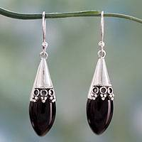 Onyx dangle earrings, 'Regal'