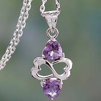 Amethyst heart necklace, 'Spiritual Love'
