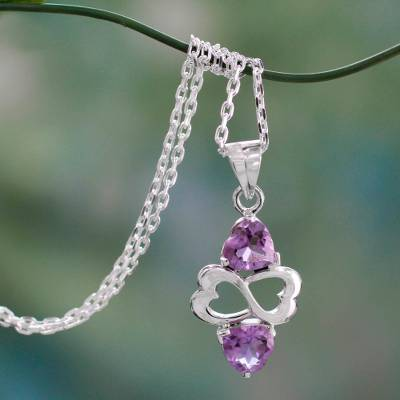 Amethyst heart necklace, 'Spiritual Love' - Amethyst and Sterling Silver Heart Necklace