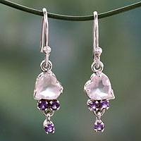 Rose quartz and amethyst heart earrings, 'Celebrate Love' - Rose Quartz and Amethyst Heart Hook Earrings