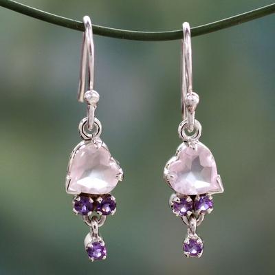 Rose quartz and amethyst heart earrings, 'Celebrate Love' - Rose Quartz and Amethyst Heart Hook Earrings