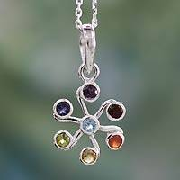 Multi-gemstone chakra necklace, 'Harmony Within' - Colorful Gemstone Sterling Silver Necklace