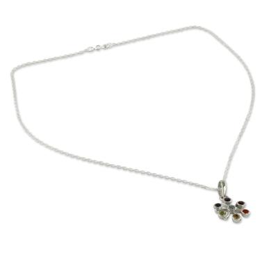 Multi-gemstone chakra necklace, 'Harmony Within' - Multi Gemstone Sterling Silver Necklace Chakra Jewelry