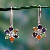 Multi-gemstone chakra earrings 'Harmonious Nature' - Multi Gemstone Sterling Silver Earrings Chakra Jewelry