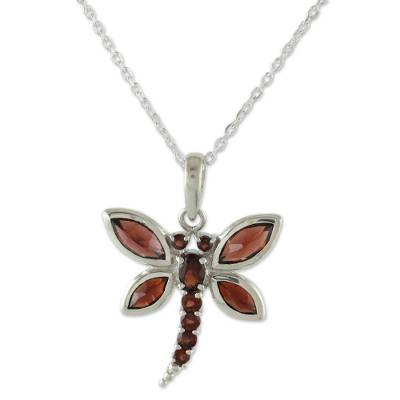 Garnet pendant necklace, 'Dragonfly Dreams' - Garnet and Sterling Silver Necklace Handcrafted Jewelry