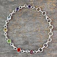 Multi-gemstone chakra bracelet, 'Inner Space'