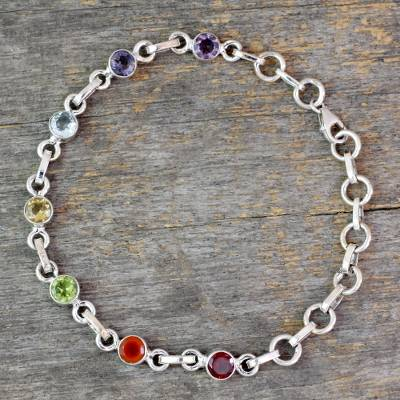Multi-gemstone chakra bracelet, 'Inner Space' - Sterling Silver Bracelet Multi Gemstone Chakra Jewelry