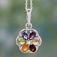Multi-gemstone chakra necklace, 'Energy Bloom'
