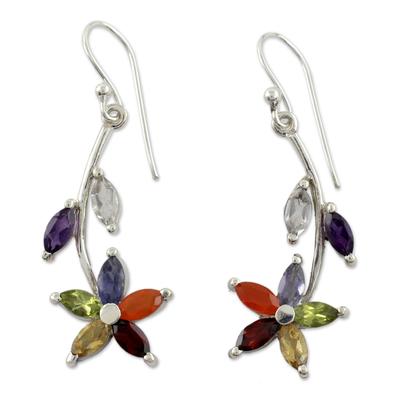Multi-gemstone chakra earrings 'Blossoming Energy' - Multi Gemstone Sterling Silver Earrings Chakra Jewelry