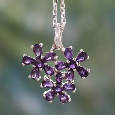 Amethyst flower necklace, 'Bouquet of Wisdom' - Amethyst Flowers on Sterling Silver Necklace