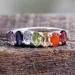 Multi Gemstone Sterling Silver Ring Chakra Jewelry, 'Positivity'
