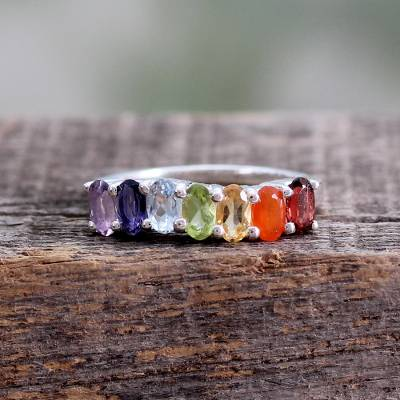 gold over silver bracelets - Multi Gemstone Sterling Silver Ring Chakra Jewelry