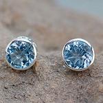 Blue Topaz Stud Earrings Sterling Silver Jewelry, 'Spark of Life'