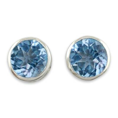 Handcrafted Blue Topaz Stud Earrings in Sterling Silver Jewelry