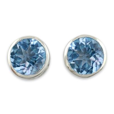 Blue topaz stud earrings, 'Spark of Life' - Blue Topaz Stud Earrings Sterling Silver Jewelry