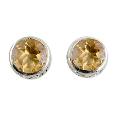 Citrine stud earrings, 'Spark of Life' - Citrine Stud Earrings Sterling Silver Jewelry
