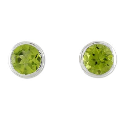 Peridot stud earrings, 'Spark of Life' - Peridot Stud Earrings Sterling Silver Jewelry