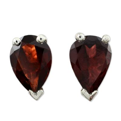 Garnet stud earrings, 'Devotion' - Fair Trade Garnet Stud Earrings 2.5 cts