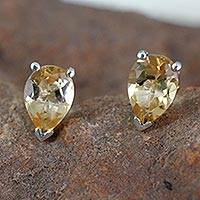 Citrine stud earrings, 'Devotion' - Handcrafted Citrine Teardrop Stud Earrings