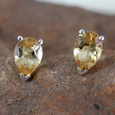 Citrine Stud Earrings 2.5 carats