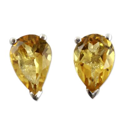 Citrine stud earrings, 'Devotion' - Fair Trade Citrine Stud Earrings 2.5 cts