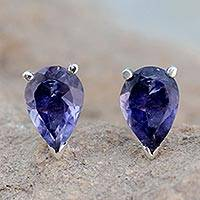 Iolite stud earrings, 'Devotion'