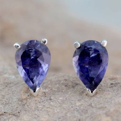 Iolite stud earrings, 'Devotion' - Fair Trade Iolite Stud Earrings 2.5 cts