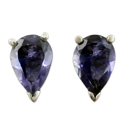 Fair Trade Iolite Stud Earrings 2.5 cts