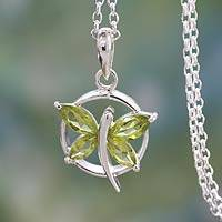 Peridot pendant necklace, 'Renewal' - Peridot Butterfly Sterling Silver Necklace