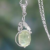 Prehnite pendant necklace, 'Mystic Treasure' - Sterling Silver Necklace with Prehnite Leafy Pendant
