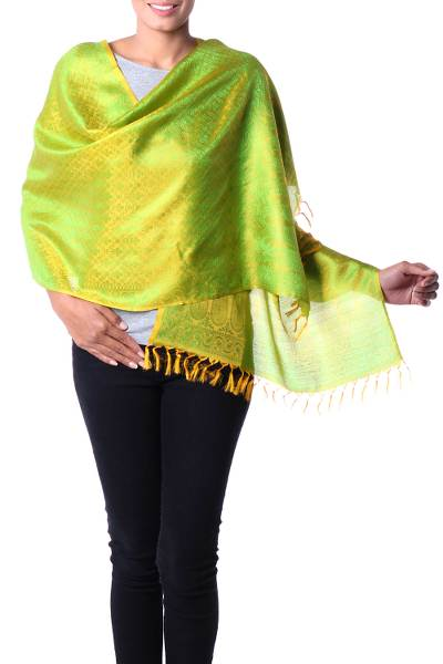 Varanasi silk shawl, 'Banaras Yellow' - Hand Woven Yellow Shawl Wrap with Green Flowers