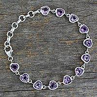 Amethyst tennis bracelet, 'Romance All Around' - Romantic Amethyst Heart Bracelet