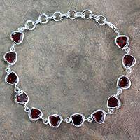 Featured review for Garnet tennis bracelet, Romance All Around